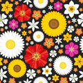 Summer seamless pattern with flowers on the dark background.