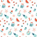 Summer seamless pattern. Fruits and cocktails.