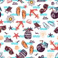 Summer seamless pattern with hand drawn vector elements - sunglasses, flip flops, anchor, sea shells
