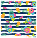 Summer seamless pattern with hibiscus and fruits