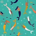 Summer seamless pattern with mermaid under the sea - vector illustration