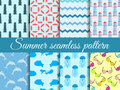 Summer seamless pattern. Pattern with a lighthouse, marine fauna. Set of seamless patterns. Vector Royalty Free Stock Photo
