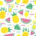 Summer seamless pattern with pineapple, watermelon slice, lemon, cocktail and monstera leaves.