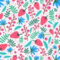 Summer seamless pattern with strawberries, flowers and leaves on white background. Natural backdrop with ripe wild