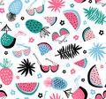 Summer seamless pattern. Vector tropical background with exotic  fruit and leaves. Royalty Free Stock Photo