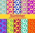 Summer seamless patterns with circles and bright colors. A collection of ten backgrounds. Vector Royalty Free Stock Photo
