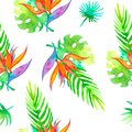 Summer seamless tropical pattern Strelitzia with exotic flower - bird of paradise. Endless texture for season spring and Royalty Free Stock Photo