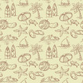 Summer seamless vintage sketchy pattern Royalty Free Stock Photography