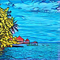 Summer by the seaside in blue and yellow. Exotic panorama in graffiti style for background. Royalty Free Stock Photo