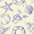 Summer seaside seamless pattern