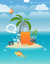 Summer seaside vacation illustration with clouds Royalty Free Stock Photography