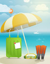 Summer seaside vacation illustration with umbrella Stock Photo