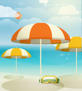Summer seaside vacation illustration with umbrellas Royalty Free Stock Photos