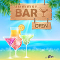 Summer seaside view poster Royalty Free Stock Photo