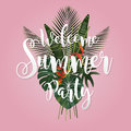 Summer season poster design. Writing and a tropical leaf on pink