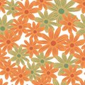 Summer season seamless pattern with orange and beige random flowers daisy shapes. Isolated backdrop Royalty Free Stock Photo