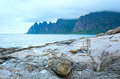 Summer senja coast jagged ersfjord norway polar night the dragon s teeth rock Stock Photography