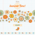 Summer set flowers and labels banner for design Royalty Free Stock Photos