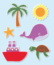 Summer set of and holiday symbols Stock Images