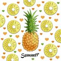 Summer set: pineapple, pineapple pieces, summer inscription, hearts