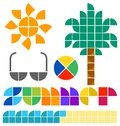 Summer set the title heading in an original alphabet and illustrations of icons including a sun palm tree sunglasses a beach Royalty Free Stock Image