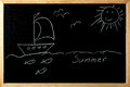 Summer ship in the sea with fishes and birds under the sun on a draw blackboard Royalty Free Stock Photos