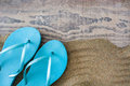 Summer shoes on sand Royalty Free Stock Photo