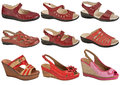 Summer shoes a selection of ladies in red leather and in different styles Royalty Free Stock Photography