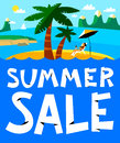 Summer shopping background. Summer sale lettering. Seasonal plac