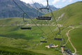 Summer ski lifts at the top of the croix de fer french alps Royalty Free Stock Photography