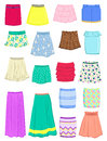 Summer skirts set of isolated on white background Royalty Free Stock Photo