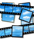Summer sky and ocean image, film strip  on white Stock Photo
