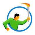 Summer sport games athlete torch bearer in the blue ring flat line icon.