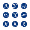 Summer sports pictograms icons set Stock Photos