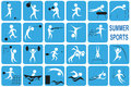 Summer sports white image icons with activities port on a blue background Royalty Free Stock Image