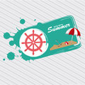 Summer stamp over grunge background vector illustration Royalty Free Stock Images