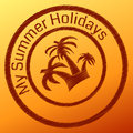 Summer stamp with palm tree in the circle Stock Photo