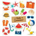 Summer sticker icon set flat design. Can be used for banner Royalty Free Stock Photo
