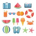 Summer sticker icon set paper art design. Can be used for banner