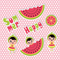 Summer sticker set with cute girl and watermelon cartoon for summer sticker set