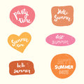 Summer stickers set. Handwritten party time