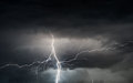 Summer storm bringing thunder lightnings and rain heavy in spring Stock Images