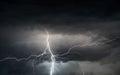 Summer storm bringing thunder, lightnings and rain Royalty Free Stock Photo