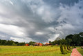 Summer storm landscape. Dramatic cloudy sky. Hurricane and rain Royalty Free Stock Photo