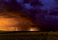Summer storm with three lightnings Stock Image