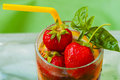 Summer strawberry beverage with fresh berries Royalty Free Stock Photo