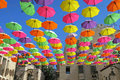 Summer street festival with flying umbrellas in Jerusalem Royalty Free Stock Photo