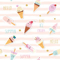 Summer striped seamless pattern background with kawaii cartoon ice cream and glitter. For print and web. Girly.