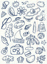 Summer stuff doodle cute beach set Royalty Free Stock Images