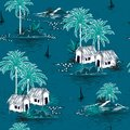 Summer stylish seamless Dark ocean island pattern on blue background. Landscape with palm trees,beach